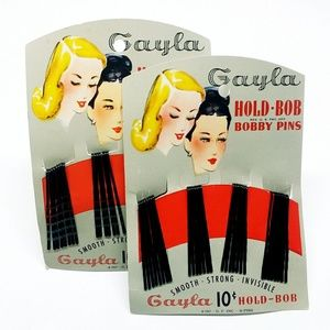 Vintage! Two 1947 GAYLA Bobby Hair Pins, 30-Pack